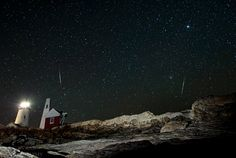 North Taurids Meteors Over Pemaquid Light, New Harbor, Maine