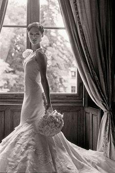 Model Coco Rocha in Zac Posen #celebrity #wedding