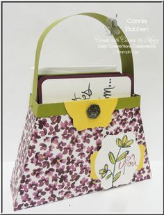 FREE TUTORIAL on how to make this purse that holds 4-6 cards and envelopes.  We have a Design Team Blog Hop, too! Mother's Love, Painted Blooms, Purse with cards, Stampin' Up!, #stampinup, Connie Babbert, www.inkspiredtreasures.com