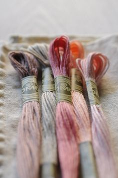 Pink linen embroidery threads.....Can't help but think of my Grandma when I see floss ;)  Embroidery branding offered by: http://www.embroiderystudio.co.za/