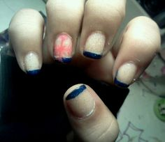 """Blue french tip with pink snowflake n glitter (""""snow"""")"""