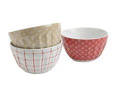 Set de 3 boles de porcelana - rojo, beige y blanco