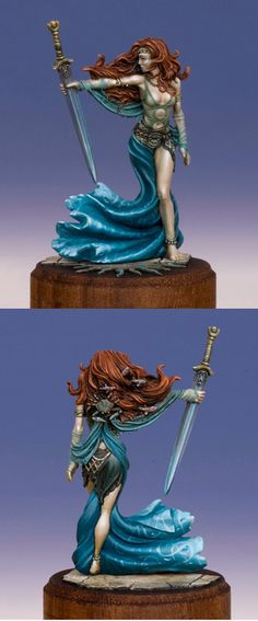 I like the work on the blues on the dress / waves. I also like this model for a Bretonian priestess.