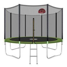 Genki Round Kids Trampoline Set with Safety Enclosure Net Basketball Hoop Ladder Kids Trampoline, Weight Benches, Steel Structure, Basketball Hoop, Galvanized Steel, Rebounding, Steel Frame, Ladder, Things That Bounce