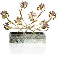 """Irises"", ametrine and citrine, rock crystal base, 18 kt yellow gold"