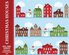 80% OFF SALE Digital Christmas Houses Clipart by LoveGraphicDesign