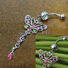 Elegant Butterfly Dangle Pendant Colorful Rhinestone Piercing Navel Ring Belly