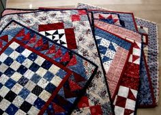 red, white, and blue small quilts