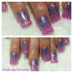 Purple & Pink Glitter Fade Acrylic Nails