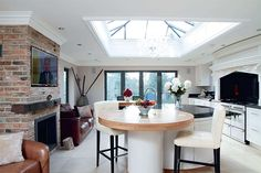 Maria and Frederick Jude extended to create a multi-functional kitchen space with a stunning glass roof House Styles, Kitchen Diner Extension, Kitchen Orangery, Glass Kitchen, Open Plan Kitchen Dining, Home, Sunroom Designs, Open Plan Kitchen Dining Living, Moving House