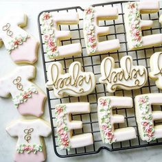 """783 Likes, 10 Comments - Tony and Heather (@kaleidacuts) on Instagram: """"@libcovingtoncookies used our original hand lettered baby cookie cutter to make these beauties!!…"""""""
