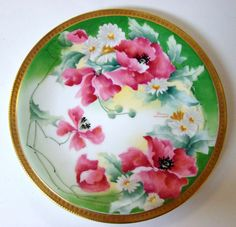 Early 1900's Old Abbey Limoges Hand Painted Poppies Plate Signed Dumas