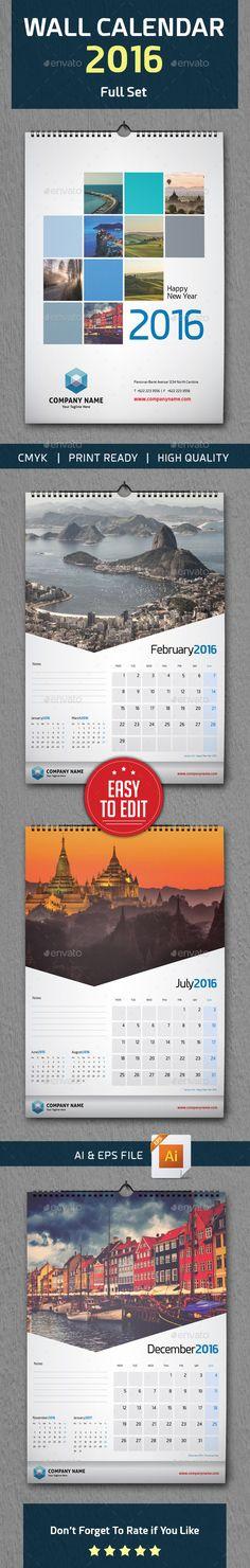 Wall Calendar 2016 Vector Template EPS, AI #design Download: http://graphicriver.net/item/wall-calendar-2016/13577618?ref=ksioks