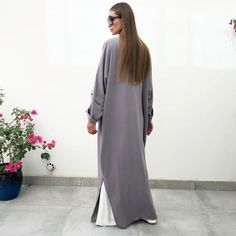 AW18 CHARCOAL DROP SHOULDER ABAYA WITH SWAROVSKI DETAILING – Qabeela White T, Off White, White Wide Leg Trousers, Abaya Fashion, Hoodie Dress, Charcoal, Swarovski, Drop, Elegant