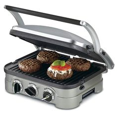 Compact in size Countertop Griddler offers five in one functionality As a contact grill panini press full grill full griddle and half grill half griddle The stylish brushed stainless-steel housing looks sleek and modern in the kitchen and f. Indoor Electric Grill, Indoor Grill, Electric Grills, Electric Bbq, Panini Grill, Grill Plate, George Foreman, Comfort Food, Specialty Appliances
