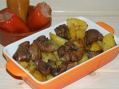 Reteta culinara Ficatei de pui cu cartofi la cuptor din categoria Ficat. Cum sa faci Ficatei de pui cu cartofi la cuptor