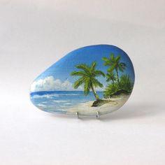 Peinture sur galet, une plage des Seychelles https://www.alittlemarket.com/peintures/fr_peinture_sur_galet_une_plage_des_seychelles_-17873316.html #galet #peint #paintedstones #rockspainting