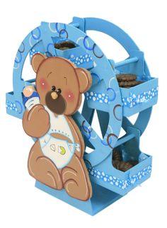 Rueda de la fortuna de madera con osito Centro de mesa para Baby Shower