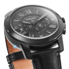 Q Grant Chronograph Black Leather Smartwatch