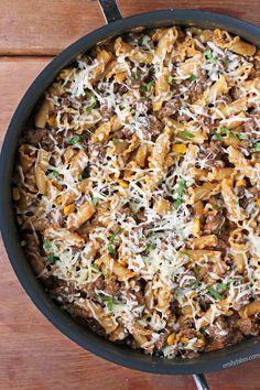 Beef Enchilada Pasta Skillet - Emily Bites