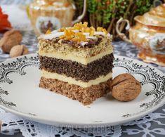 Ciasto orzechowo - makowe z serem gotowanym Good Food, Yummy Food, Polish Recipes, Calzone, Food Styling, Tiramisu, Biscotti, Cheesecake, Food And Drink