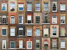 Een wereld van verschil: ramen en deuren aller landen in beeld. Hier: ramen in Londen, Verenigd Koninkrijk.