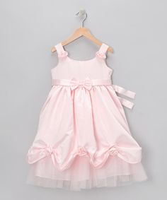 Pink Satin Bow Dress - zulily