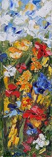 """Daily Painters Abstract Gallery: Original Palette Knife Flower Painting """"Colorado's Best """"by Colorado Impressionist Judith Babcock"""