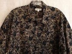 Men's Pierre Cardin Aloha Shirt Sz XL 100% Cotton Palms, Leaves Black, Brown  | eBay