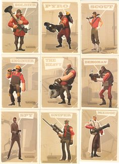 TF2 Cards. I like how the cutout characters overcomes the distressed background.