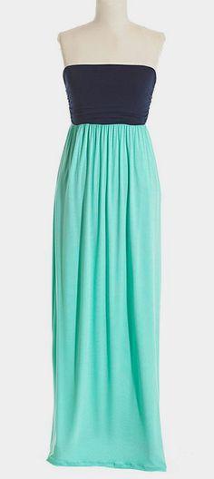 Navy & Mint Color Block Maxi Dress