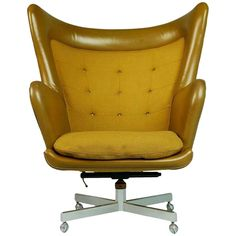 Dramatic Executive Wingback Chair and Ottoman by George Kasparian, Circa 1960 Office Chair Cushion, Chair And Ottoman, Wingback Chair, Office Chairs, Chair Cushions, Desk Office, Swivel Chair, Beach Chair With Canopy, Leather Dining Room Chairs