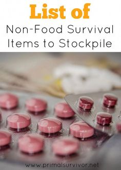 List of Non-Food Survival Items to Stockpile for emergency preparedness. sorry to break it to you: stockpiling food isn't going to be enough to get you through a long-term disaster. Here is a list of non-food items you will also need to stockpile. Survival Items, Survival Supplies, Survival Prepping, Survival Skills, Survival Gear, Survival Hacks, Wilderness Survival, Survival Equipment, Doomsday Prepping