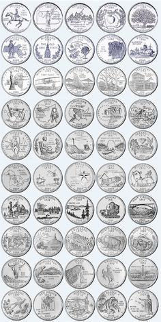 US State Quarters Complete Uncirculated Set of 50 Coins Rare Coins Worth Money, Valuable Coins, Canadian Coins, State Quarters, Euro Coins, Coin Store, Coin Art, American Coins, Coin Values