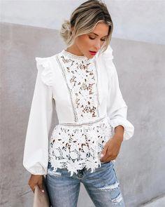 Boho Tops, Bohemian Blouses, Lace Peplum, Peplum Blouse, Long Blouse, White Long Sleeve, Long Sleeve Lace Shirt, White Tops, Floral Lace