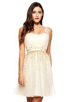 KATHY HILTON Champagne Sleeveless Shimmering Cocktail Dress