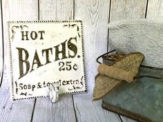 Shabby Chic Bathroom Sign - White/ or Pick Color - Bath Sign - Bathroom Wall Decor - Shabby Chic Wall Hooks - Towel Hooks - Vintage Bathroom by ShineBoxPrimitives on Etsy