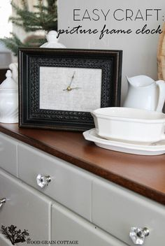 DIY Picture Frame Clock by The Wood Grain Cottage
