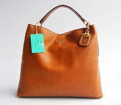 Prada Winter/Herbst neue Release Erstellung 3326 Licht Kaffee Leder Handtasche Prada Taschen Online