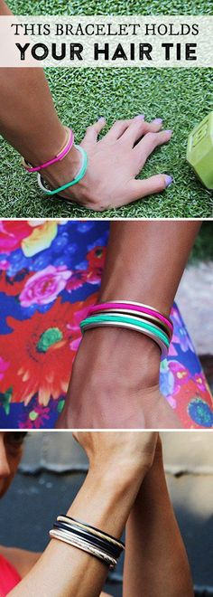 Lightweight anodized aluminum hair tie bracelet that cleverly holds—and disguises—hair elastics and keeps your wrist indent-free.
