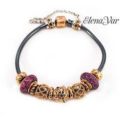 Pandora gold Purple Circle Murano Charm 750505