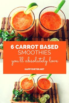Healthy Smoothies 6 Carrot Based Smoothies Youll Absolutely Love - One cup of carrots contains 689 mg of potassium. Carrots smoothies are a great way to eat more carrots. So, here are 6 carrot based smoothie recipes you'll love. Smoothie King, Smoothie Bowl, Juice Smoothie, Smoothie Drinks, Vegetable Smoothies, Apple Smoothies, Healthy Smoothies, Healthy Drinks, Smoothies With Carrots