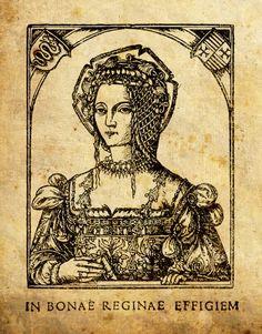 Бона Сфорца. Гравюра зробленая Дэціўсам Весцюстабусам Паланарумам. 1521 год.