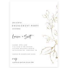 Gold Florals Engagement Party Invitation | Forever Your Prints