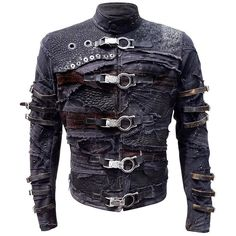 One of my flagship products, the Fraktur Mark II jacket is a dark, post-apocalyptic mosaic of scraps, straps, grommets and chunky hardware. It's the kind of jacket Pinhead from Hellraiser would proudly wear. Mode Cyberpunk, Cyberpunk Fashion, Moda Steampunk, Post Apocalyptic Fashion, Apocalyptic Clothing, Look Man, Canvas Jacket, Work Jackets, Men's Jackets