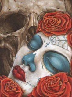 Skull & Roses art print by artist Eric Quezada. All art prints are printed are on heavy weight, semi gloss cover stock. All prints are individually wrapped and stamped for authenticity. Art print size x x cm). Stretched Canvas Prints, Framed Art Prints, Fine Art Prints, Sugar Skull Art, Sugar Skulls, Sugar Skull Images, Mexican Paintings, Abstract Paintings, Art Paintings