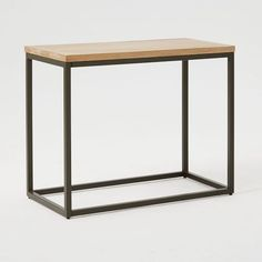 Box Frame Narrow Side Table, Raw Mango / Antique Bronze