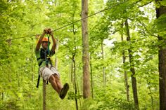 """Located at Squire Boone Caverns and Village, this state-of-the-art zip-line course offers an eco-adventure along with an adrenaline rush for both novice and master """"zippers"""" alike. The 1,600 foot tour allows guests to zip through the air at up to 35 miles an hour."""