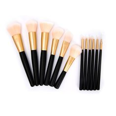 Gold & Black Makeup Brushes (12pc-Set), 48% discount @ PatPat Mom Baby Shopping App