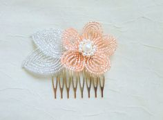 French Beaded Flower champagne pink and white by LaurenHCreations, $22.00
